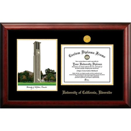 Riverside Lithograph (Campus Images CA941LGED-1185 8.5 x 11 in. UC Riverside Gold Embossed Diploma Satin Mahogany Frame with Lithograph)