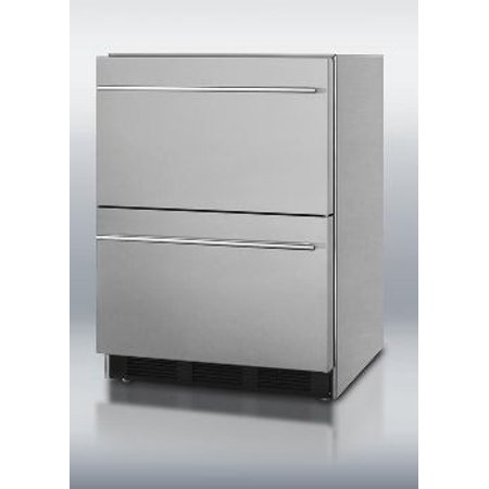 Outdoor Two-Drawer Beverage Refrigerator Stainless Steel - Defrost