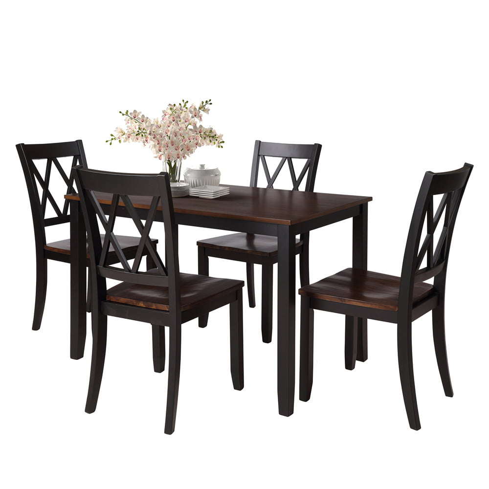 Black Dining Table Set for 4, Modern 5 Piece Dining Room Table
