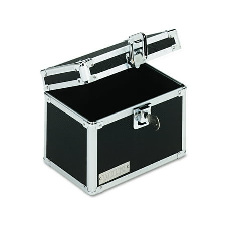 Vaultz Locking Index Card File with Flip Top Holds 450 4 x 6 Cards, Black -IDEVZ01171