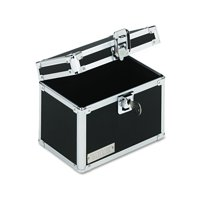 Vaultz Locking Index Card File with Flip Top Holds 450 4 x 6 Cards, Black -IDEVZ01171