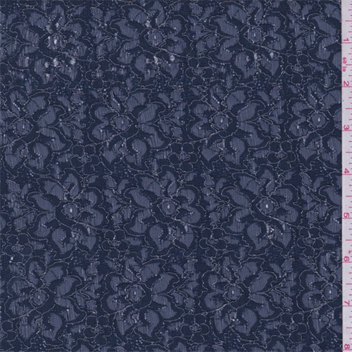 Midnight Blue Metallic Floral Lace, Fabric By the Yard