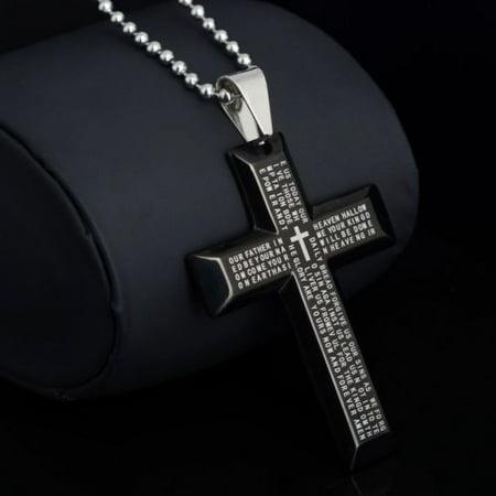 New Gift Unisex's Men Stainless Steel Cross Pendant Black Silver Bible (Zoppini Black Pendant)