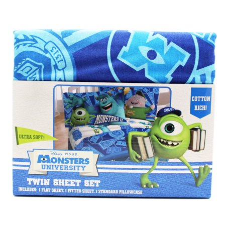 Disney Pixar's Monsters University Spirit Banners Twin Size Sheet Set