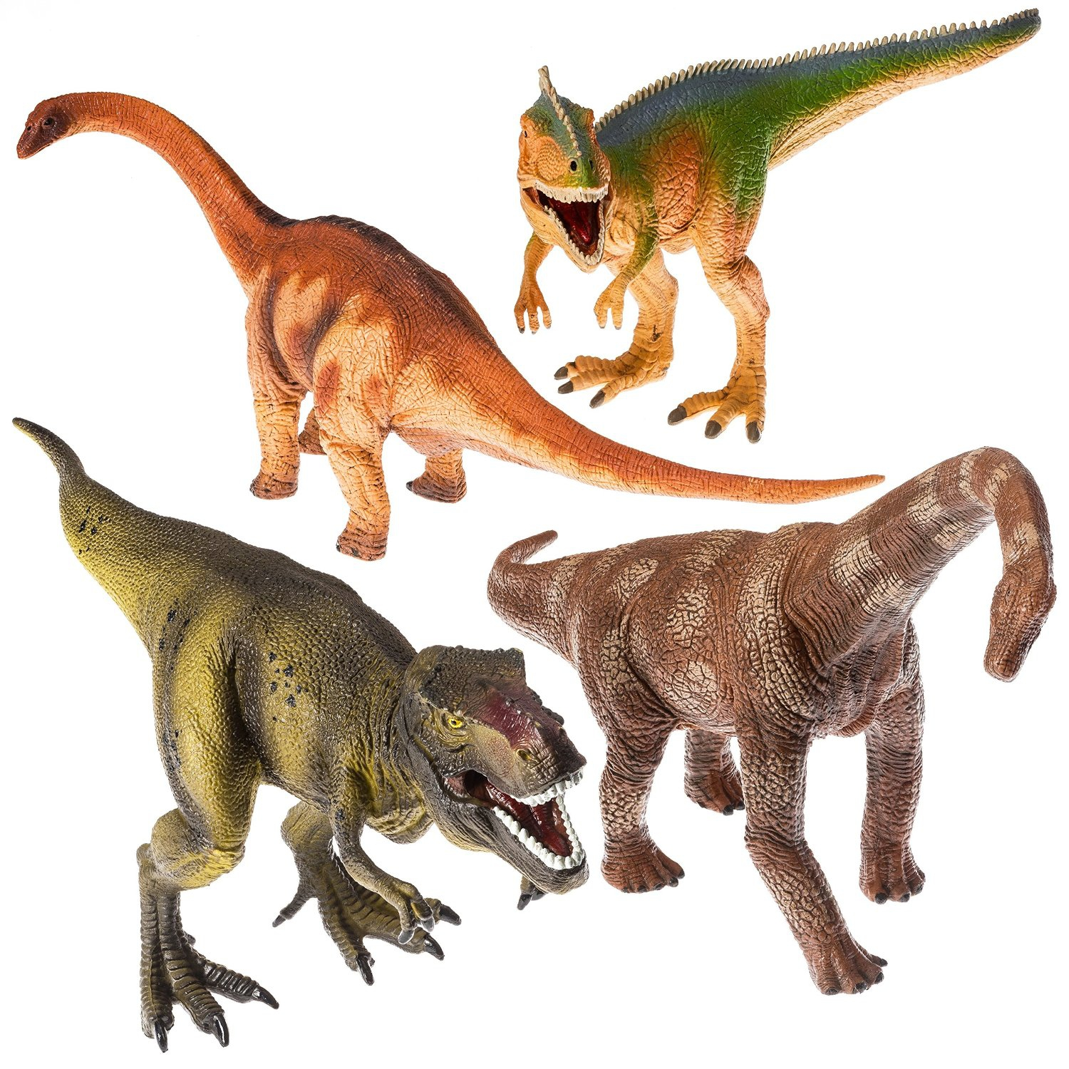 Prextex 13� Realistic Looking Dinosaurs Pack of 4 Jumbo Plastic Assorted Dinosaur Figures by