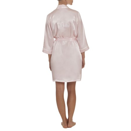 (Women's and Women's Plus Bridal Collection Bride Short Wrap Sleep Robe)