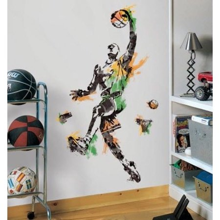 BASKETBALL PLAYER Mural Wall Decals Sports Ball Room Decor Stickers for $<!---->