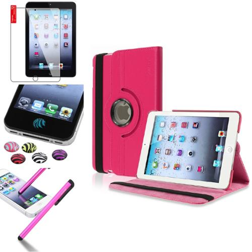 iPad Mini 3/2/1 Case, by Insten Hot Pink 360 Degree Rotating Leather Case Cover Stand for Apple iPad Mini 3 2 1+Sticker