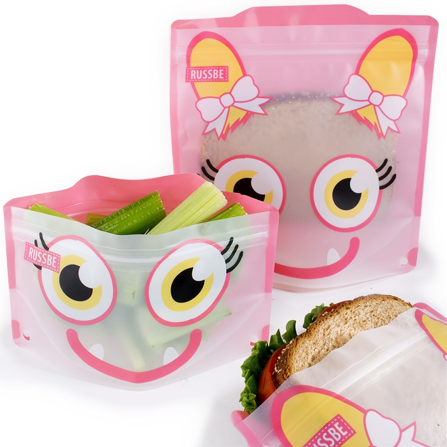 Set of 4 Russbe Reusable Snack & Sandwich Bags -Pink Monster