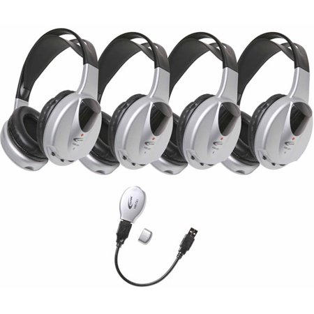 - Califone HIR_KT4 4_Person Infrared Stereo_Mono Headphones with Transmitter