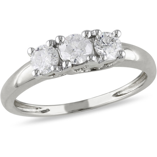 1 2 Carat T.W. Diamond Three-Stone Engagement Ring in 14kt White Gold, IGL Certified by