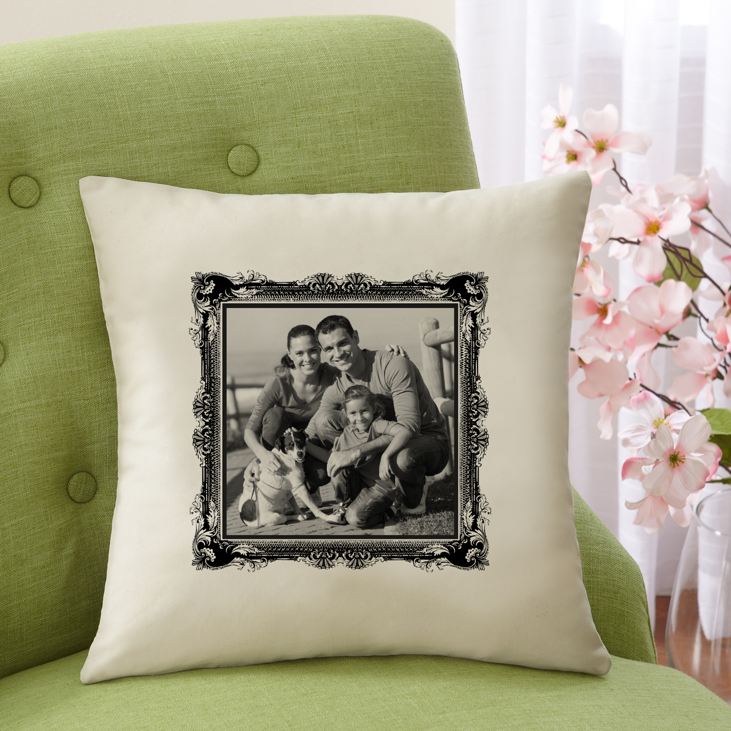 "Personalized Photo Accent Pillow With Antique Border 15""x15"