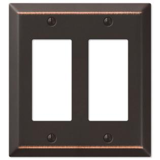 Double GFCI Rocker 2-Gang Decora Wall Switch Plate, Oil Rubbed Bronze