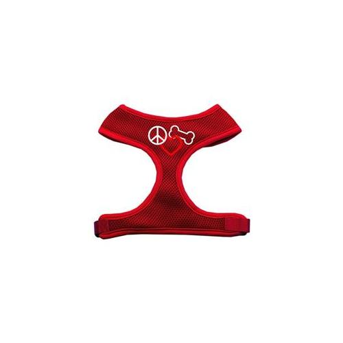 Mirage Pet Products 70-17 MDRD Peace  Love  Bone Design Soft Mesh Harnesses Red Medium