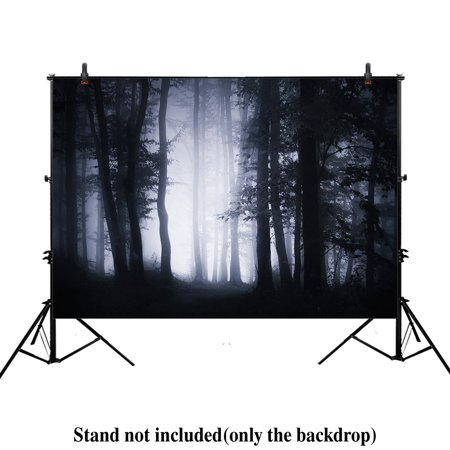 HelloDecor Polyster 7x5ft photography backdrop background spooky scary halloween woods fog trees Dark forest landscape props photo Woodland studio booth