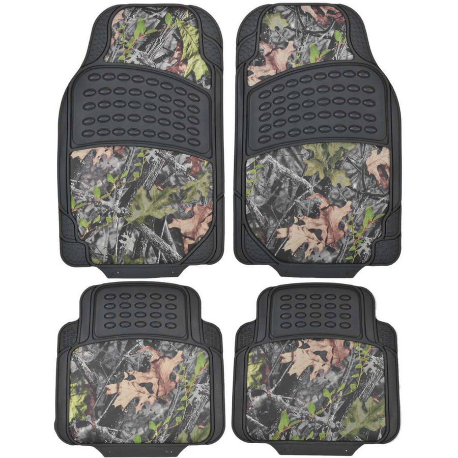 BDK Camouflage 4-Piece All Weather Waterproof Rubber Car Floor Mats, Fit Most Car Truck SUV, Trimmable, Heavy-Duty