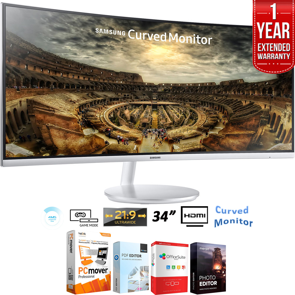 "Samsung 34"" CF791 3440x1440 Curved 21:9 Widescreen Monitor + Elite Suite 18 Standard Editing Software Bundle + 1 Year Extended Warranty"