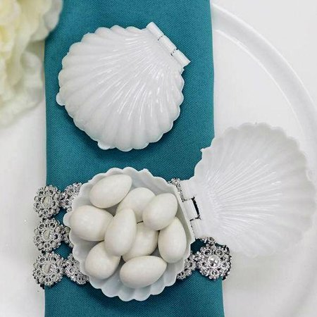 BalsaCircle 12 pcs Clear Mini Sea Shells Mermaid Party Favor Holders for Wedding Reception Party Buffet Catering Tableware](Beach Themed Wedding Favors)