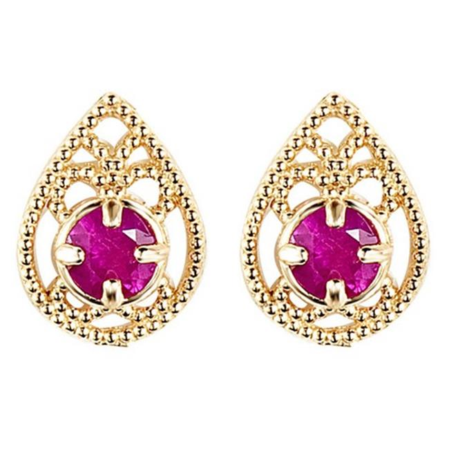Majesty Diamonds Round Ruby Teardrop Stud Earrings in 14K Yellow Gold, 0.33 Carat