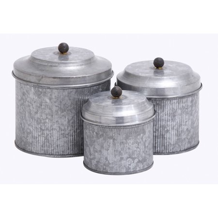 Decmode Galvanized Metal Canister, Set of 3, Multi Color