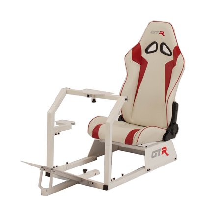 GTR Racing Simulator GTA-WHT-S105LWHTRD GTA 2017 Model White Frame with White/Red Real Racing Seat, Driving Simulator Cockpit Gaming Chair with Gear Shifter