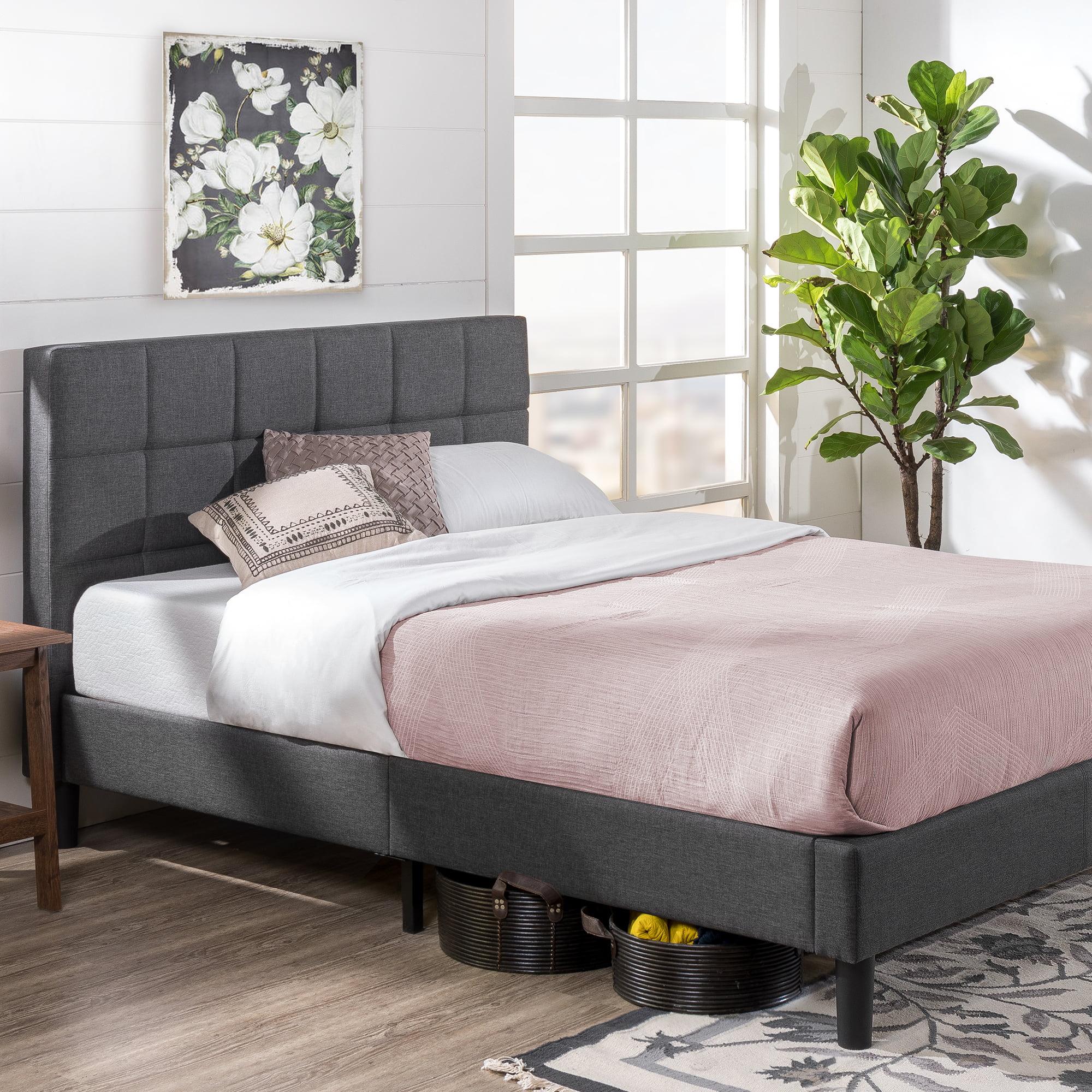 Zinus Lottie 43 Upholstered Platform Bed Frame Grey Full Walmart Com Walmart Com