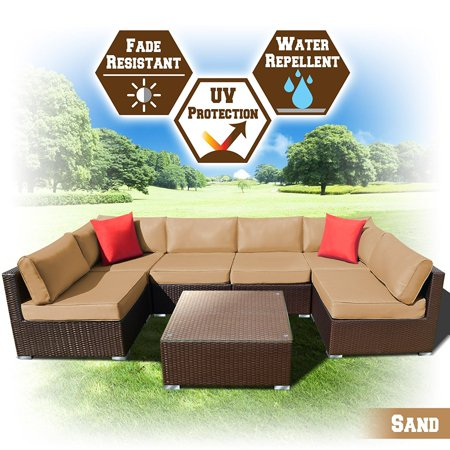 Strong Camel Rattan Wicker Patio Sectional Sofcushion Charcoal