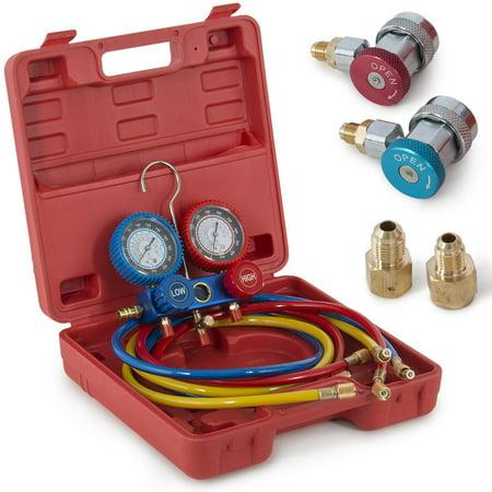 Ktaxon A/C Manifold Gauges Auto Service Set, Air Conditioner Refrigerant Maintenance, HVAC Charging Diagnosis Tool,5FT Hose, for R134 R134A R12 R22