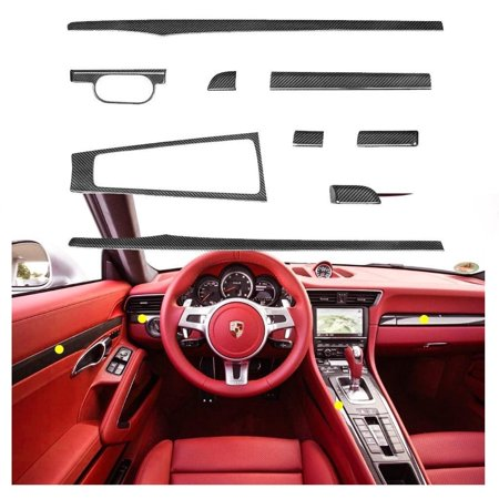 Xotic Tech JDM Carbon Fiber Interior Trim Decor Cover for Porsche 991 718 981 Carrera Boxster Cayman