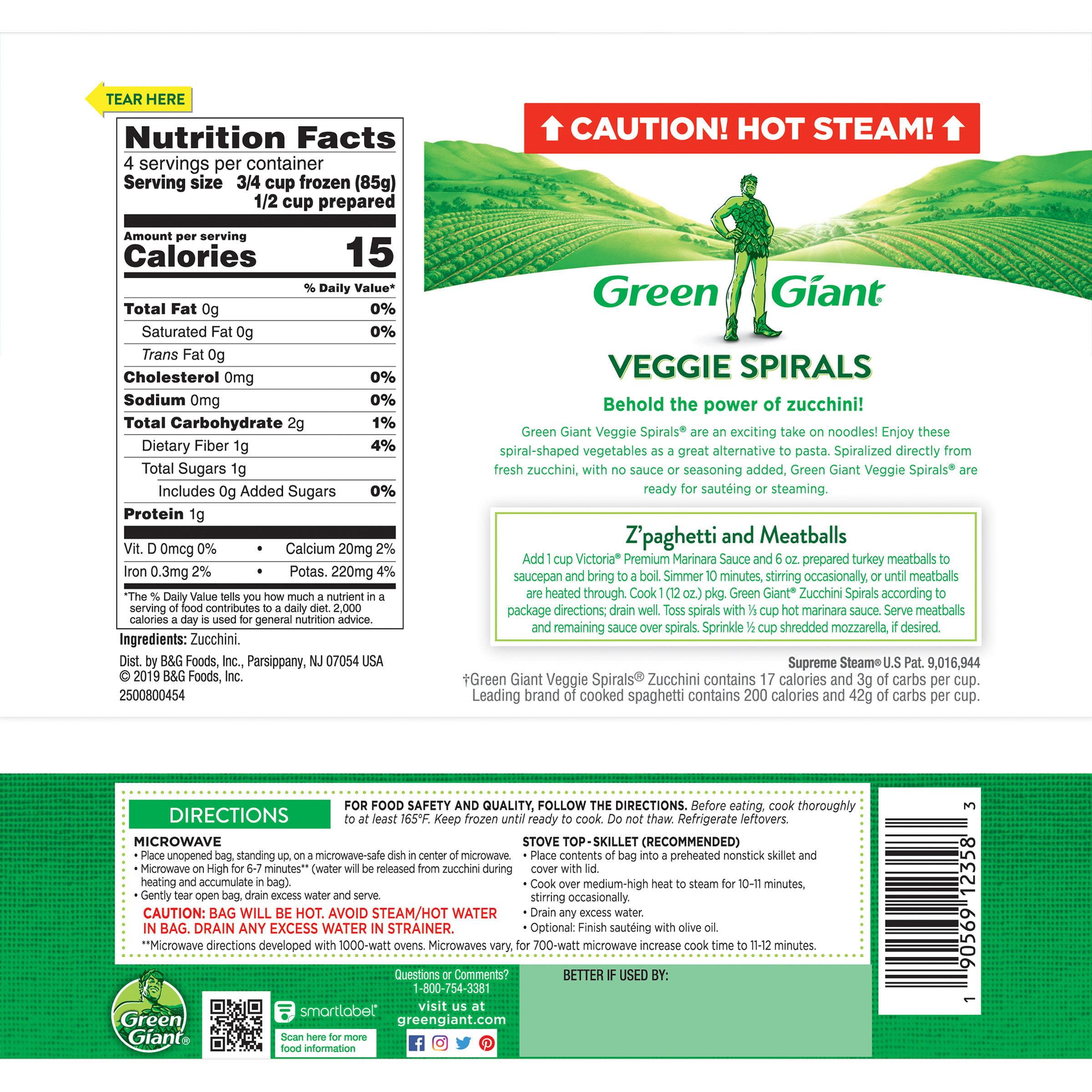 Green Giant Veggie Spirals Zucchini 12 Oz Bag Walmart Com Walmart Com