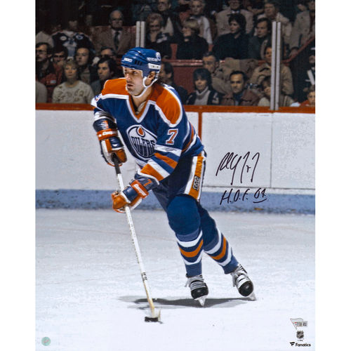 "Paul Coffey Edmonton Oilers Autographed 16"" x 20"" Blue Jersey Skating Photograph with HOF 2004 Inscription No... by Fanatics Authentic"