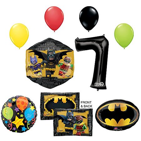 Lego Batman Birthday Party Supplies (The Lego Batman Movie 7th Birthday Party Supplies and Balloon)
