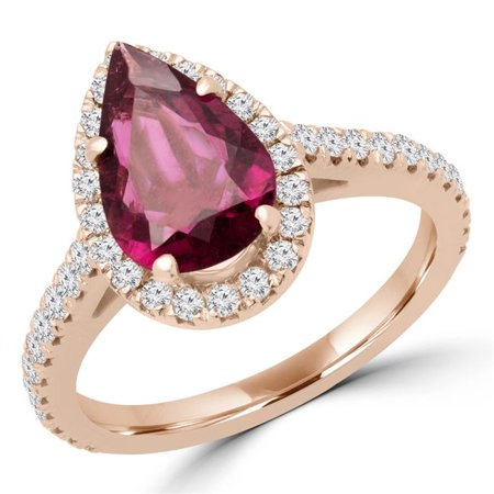 Majesty Diamonds MD170115-9 1.88 CTW Pear Pink Tourmaline Halo Cocktail Ring in 14K Rose Gold - Size 9 - image 1 de 1