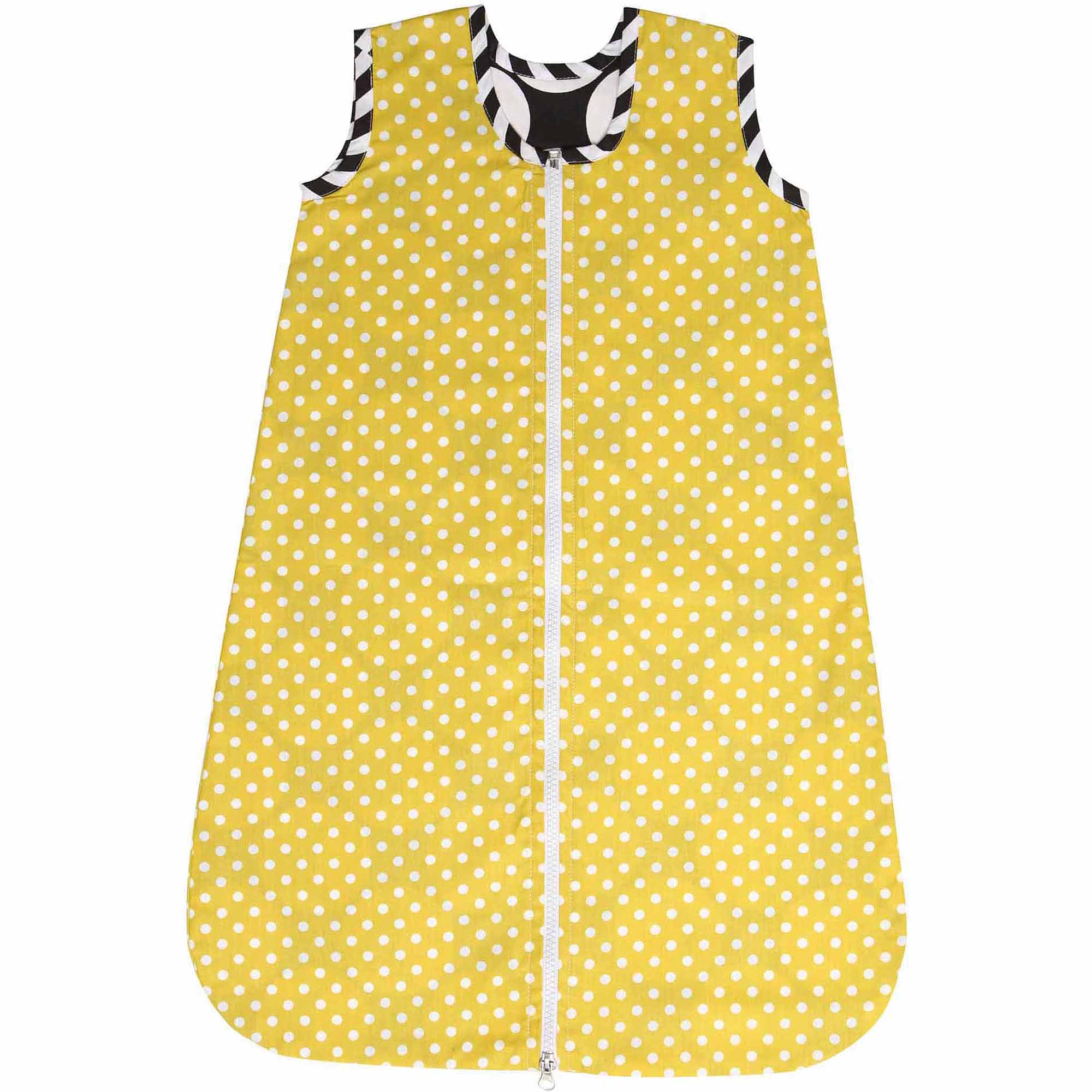 Bacati Dots/Pin Stripes Pin Bacati Dots Sleep Sack 2, Black/White with Yellow