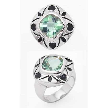 4.5ct Checkerboard Cushion Cut Genuine Sea Green Topaz Rhodium Plated Sterling Silver Ring