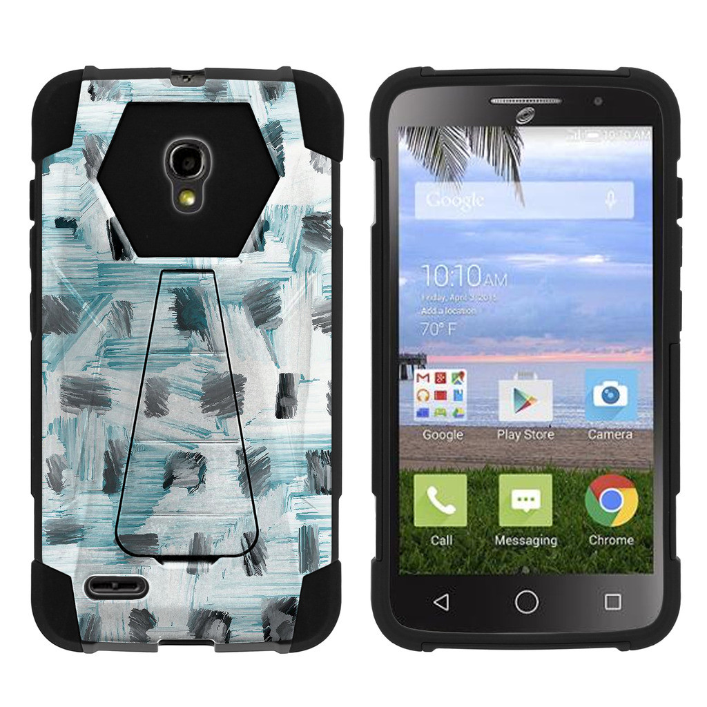 Alcatel One Touch Pop Icon 2 A846L Shock Fusion Heavy Duty Dual Layer Kickstand Case -  Black White and Blue