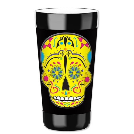 Mugzie 16-Ounce Tumbler Drink Cup with Removable Insulated Wetsuit Cover - Yellow Sugar - Skull Halloween Tumblr