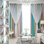 2-Layer Blackout + Sheer Curtains Starry Hollow-Out Stars Curtain Room Darkening Starry Curtain Eyelet Ring Top Window Drape for Kids Girls Children Bedroom Decor