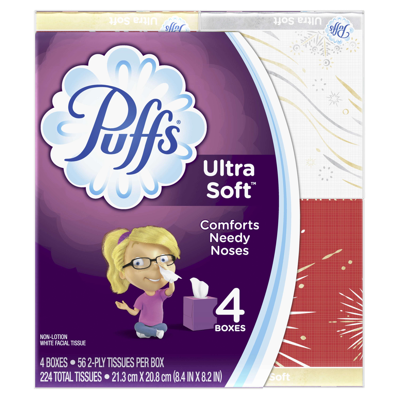 Puffs Ultra Soft Facial Tissues, 4 Cubes, 56 Tissues per Cube