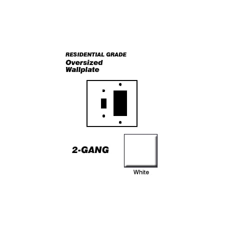 Leviton 88605 Wallplate 2-Gang 1-Toggle 1-Decora Oversize Size Plastic - White