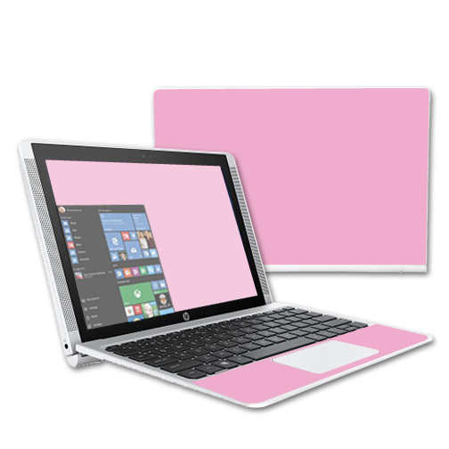 "MightySkins Protective Vinyl Skin Decal for HP Pavilion x2 10.1"" (2015) Laptop case wrap cover sticker skins Solid Pink"