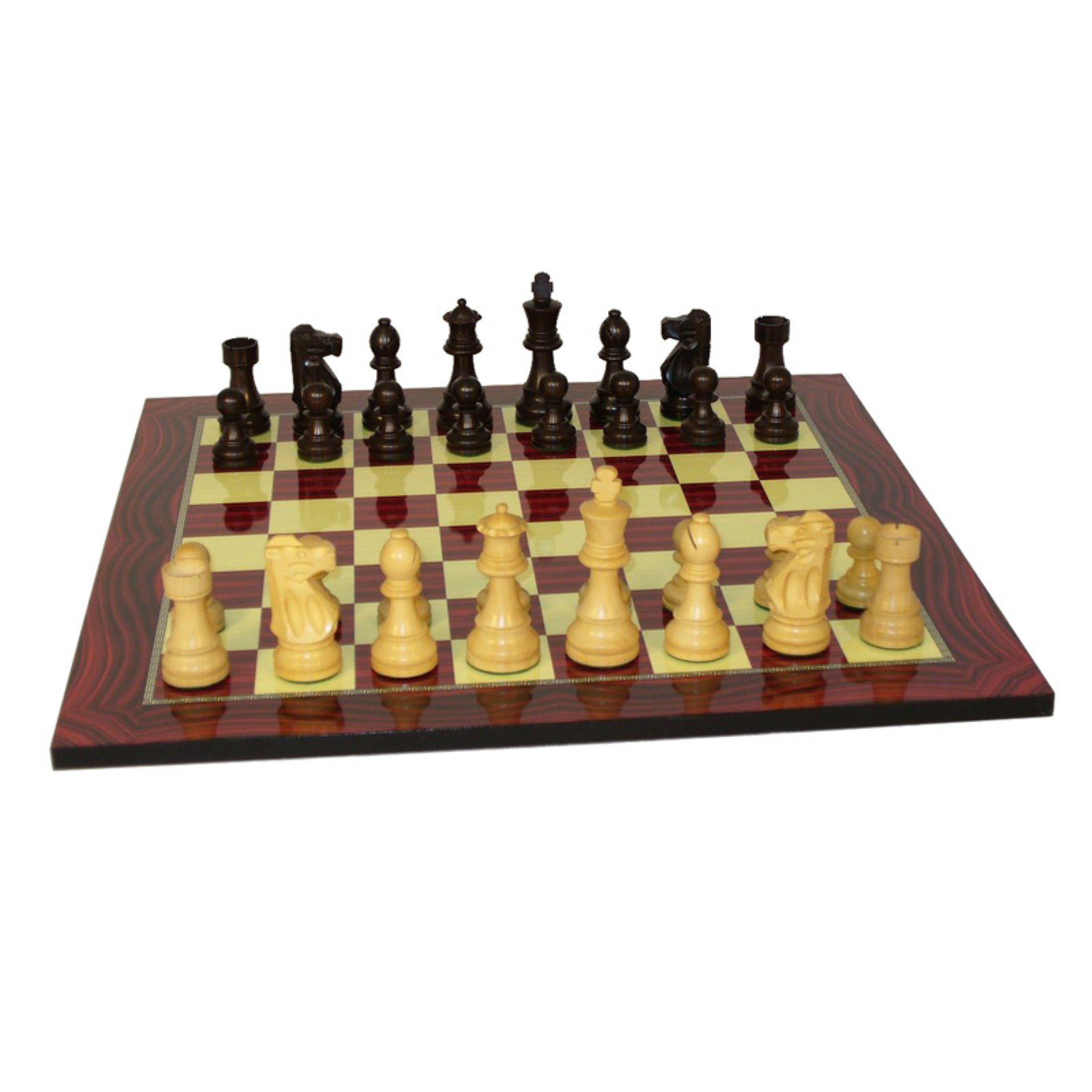 Black and Natural Boxwood Lardy Chessmen on Red Woodgrain Print Chess Board
