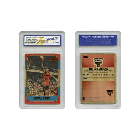 Michael Jordan Fleer Rookie Card Genuine Poly-Chrome Brushed Gold GEM-MINT 10 1986 Fleer Basketball Cards