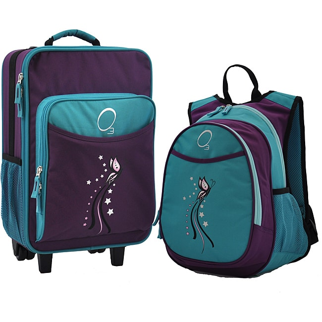 "O3 Obersee Kids ""Turquoise Butterfly"" Pre-School 2-piece Backpack and Suitcase Carry On Luggage Set"