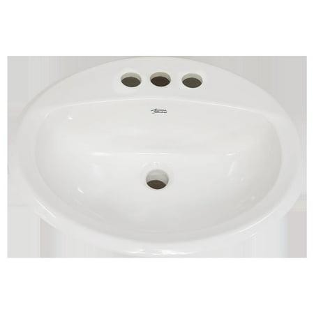 - American Standard 0476.028.020 Aqualyn Drop In Porcelain Bathroom Sink (White)