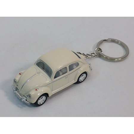 White Classic VW Volkswagen Beetle Keychain 1/64 Pastel Color Diecast Car By From USA