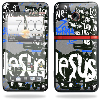 Mightyskins Protective Skin Decal Cover for HTC Evo 4G LTE Sprint Cell Phone T-Mobile wrap sticker skins Love Jesus