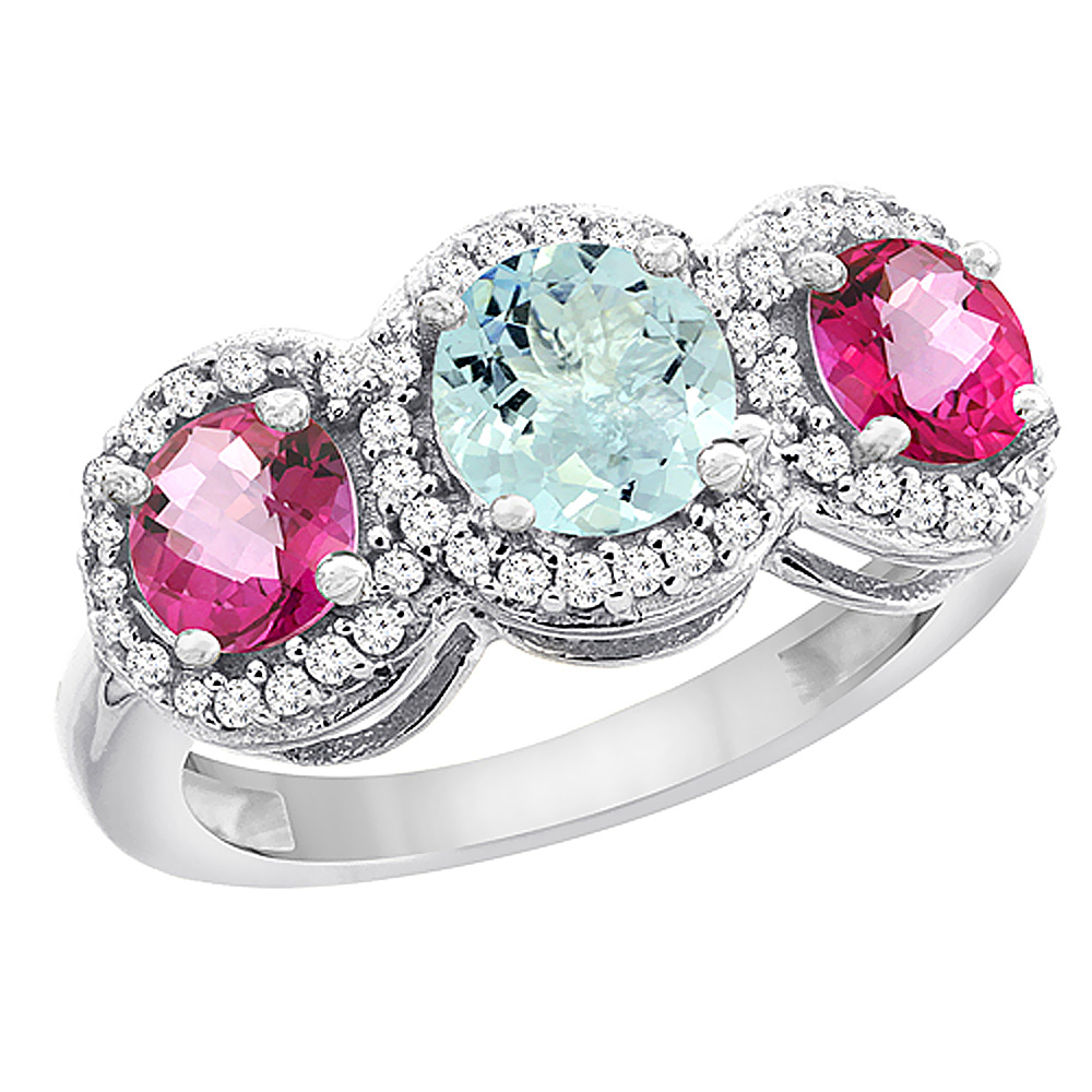 14K White Gold Natural Aquamarine & Pink Topaz Sides Round 3-stone Ring Diamond Accents, size 5 by Gabriella Gold