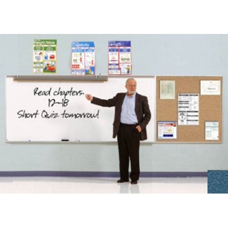 Ghent SPC46B-V-191 4 ft. x 6 ft. Style B Combination Unit - Porcelain Magnetic Whiteboard and Vinyl Fabric Tackboard - Ocean