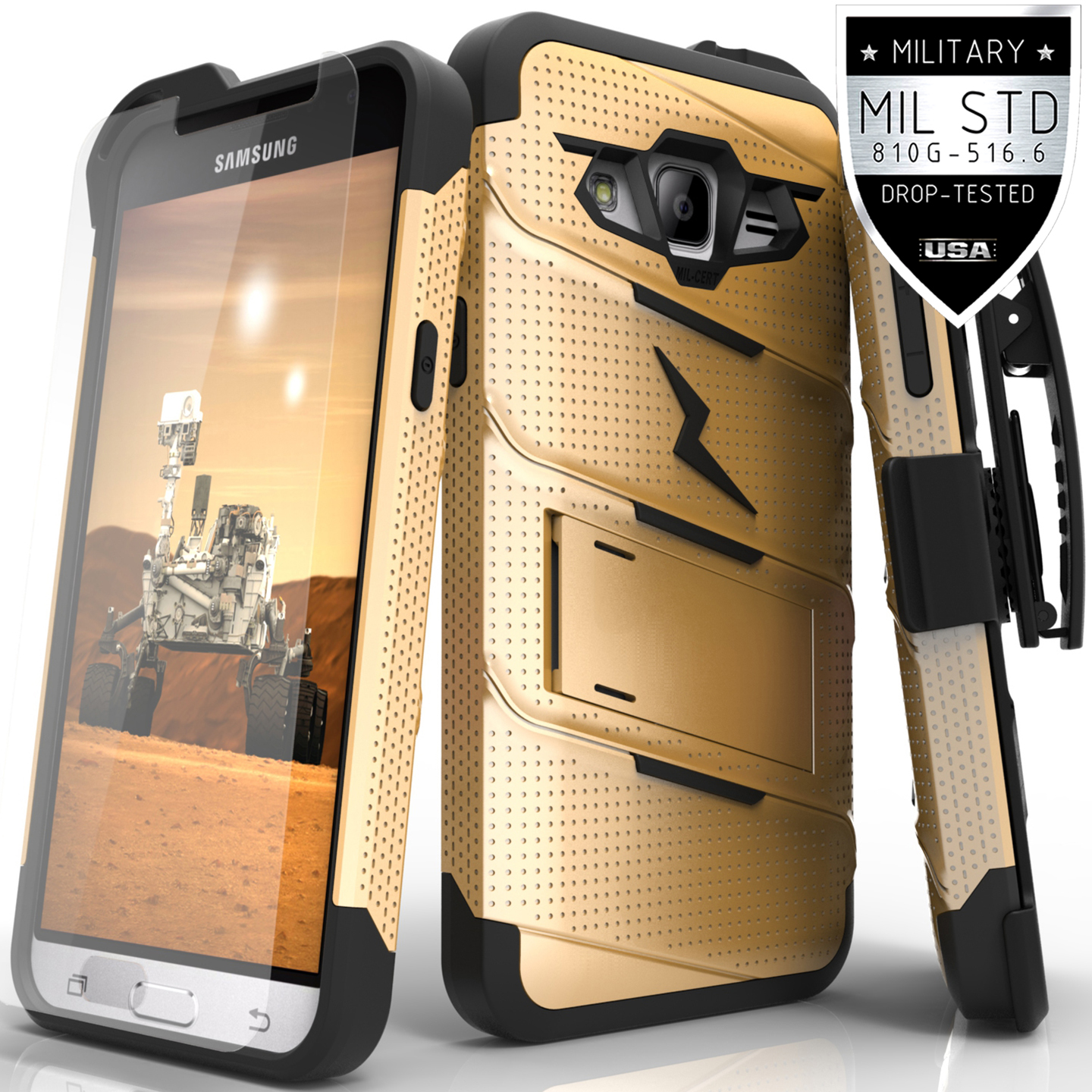 Samsung Galaxy J3 Case, Zizo [Bolt Series] w/ [Galaxy J3 Screen Protector] Kickstand [12 ft. Military Grade Drop Tested] Holster Belt Clip - Galaxy J3